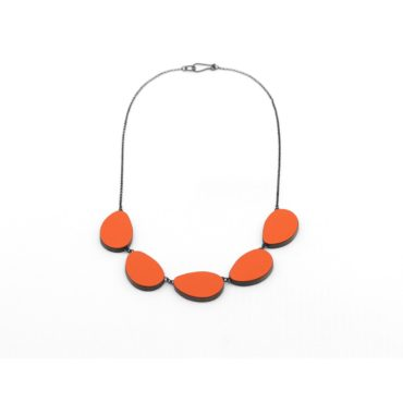 Tomfoolery, Reversible Orange and Light Green Five Part Curve Necklace, Emily Kidson