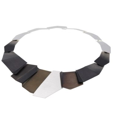 tomfoolery, Silver and Oxidised Silver Geometric Statement Necklace, deco echo
