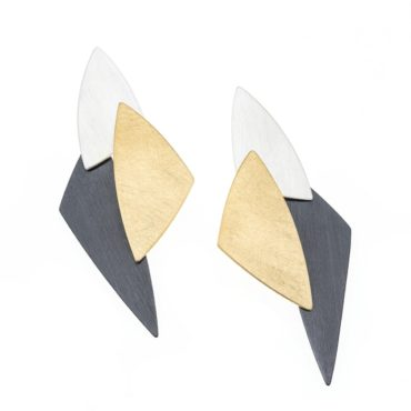 tomfoolery, Gold and Silver Triple Triangle Disc Earrings, deco echo