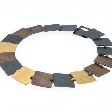 tomfoolery, Oxidised Silver and Gold-Plated Square Link Bracelet, deco echo