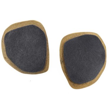 tomfoolery, Gold Plated & Oxidised Silver Large Double Circle Stud Earring, deco echo
