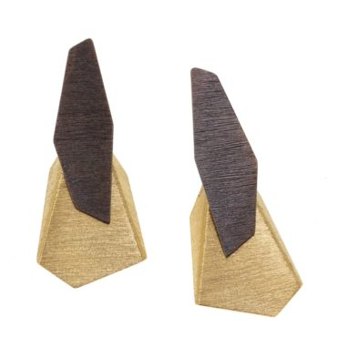 tomfoolery, Oxidised Silver and Gold-Plated Large Angle Drop Earrings, deco echo