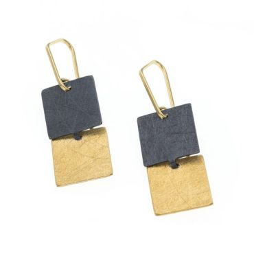 tomfoolery, Oxidised Silver and Gold-Plated Square Drop Earrings, deco echo