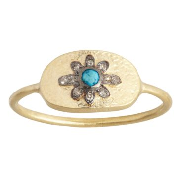 Tomfoolery; Gold Mille Moon Turquoise Diamond Ring, 5th October