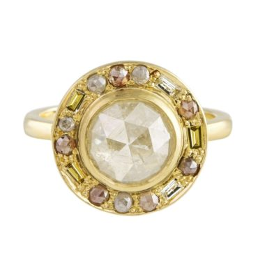 Muse by tomfoolery,18ct Yellow Gold Puzzle Round Rose Cut Diamond Ring, Tomfoolery