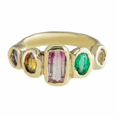 Millie Savage, Gold Five Stone Rainbow Sapphire Ring, tomfoolery