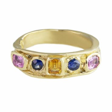 Millie Savage, Gold Five Stone Sapphire Ring, tomfoolery