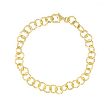 Tomfoolery; Curved Classic Small Gold Plated Silver Chain Bracelet, Everyday by Tomfoolery