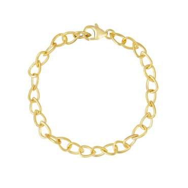 Tomfoolery; Curved Tear Gold Plated Silver Chain Bracelet, Everyday by Tomfoolery