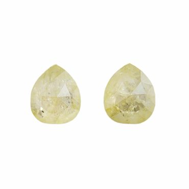 Tomfoolery, 1.10ct Pair Of Yellow Pear Rose Cut Diamonds, tf Stones
