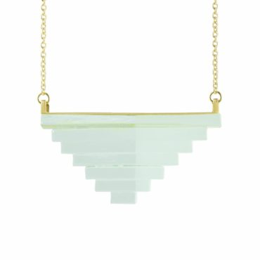Rosa Mendez, Pyramid Green Glass Large Geometric Necklace, Tomfoolery