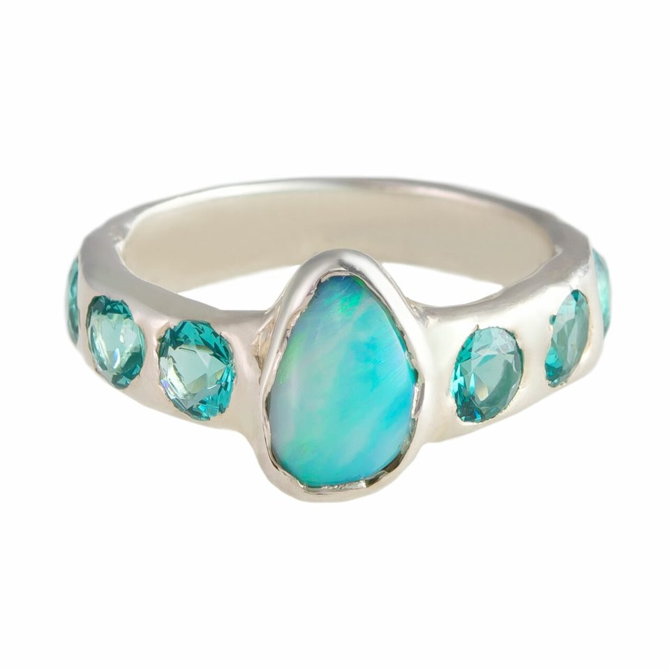 Millie Savage, Lab Grown Emerald & Opal Silver Ring, tomfoolery