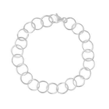 Tomfoolery; Curved Classic Medium Silver Chain Bracelet, Everyday by Tomfoolery