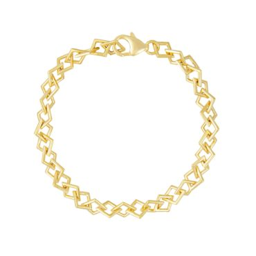 Tomfoolery; Curved Kite Gold Plated Silver Chain Bracelet, Everyday by Tomfoolery