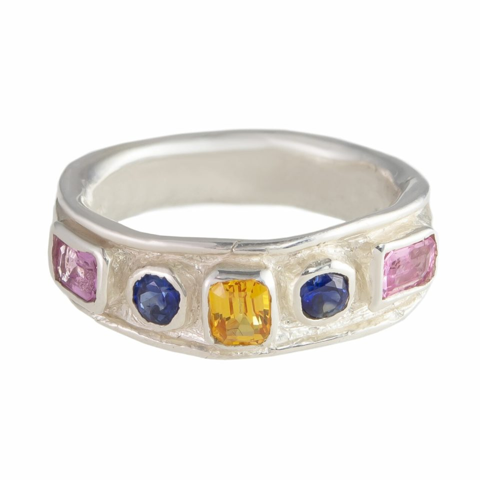 Millie Savage, Silver Five Stone Sapphire Ring, tomfoolery