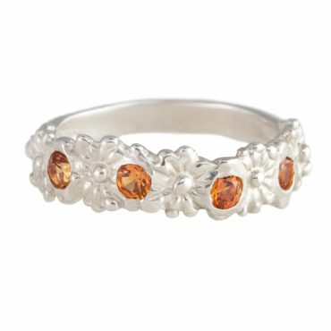 Millie Savage, Silver Orange Sapphire Flower Ring, tomfoolery