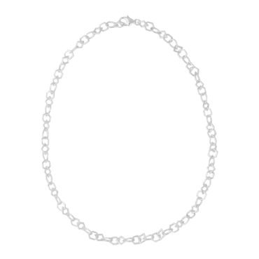 Tomfoolery: Silver Round Wire Tear Shape Links Chain Necklace , Everyday by tomfoolery