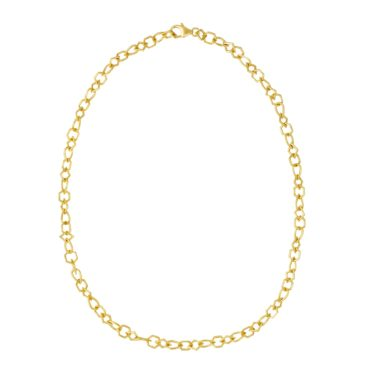 Tomfoolery: Gold Plated Silver Round Wire Multi Shape Links Chain Necklace, Everyday by tomfoolery