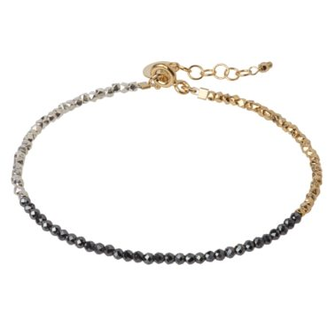 Tomfoolery; Hematite, Silver and Gold Plated Beaded Bracelet, 5th Octobre