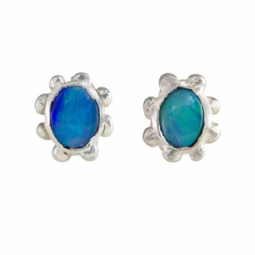 Millie Savage, Oval Opal Silver Studs, tomfoolery