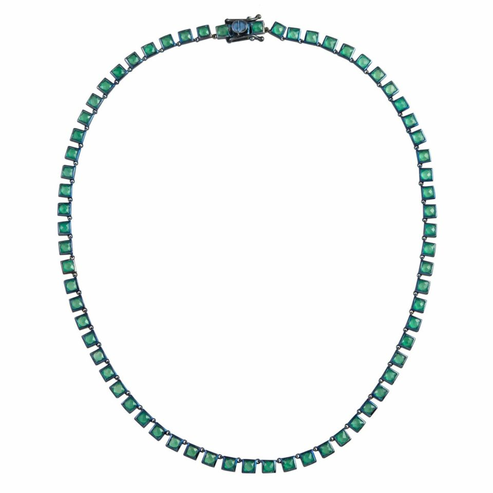 Small Green Onyx Riviere Tile Necklace,  tomfoolery, Nak Armstrong