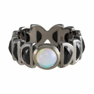 Ethiopian Opal & Black Spinel Luna Band Ring,  tomfoolery, Nak Armstrong