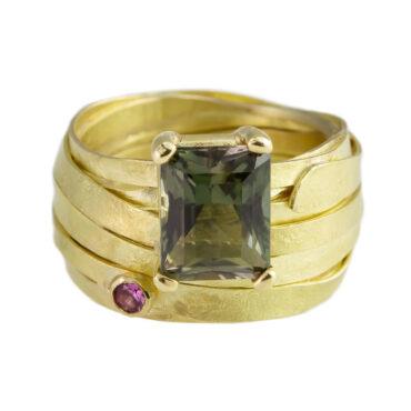 tomfoolery, shimara carlow, 18ct Gold, Tourmaline & Pink Sapphire Ring