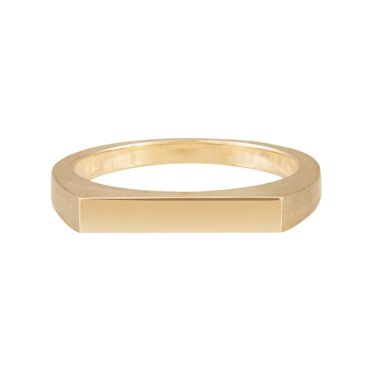 Tomfoolery; 9ct Yellow Gold Narrow Flat Top Ring, Tableau