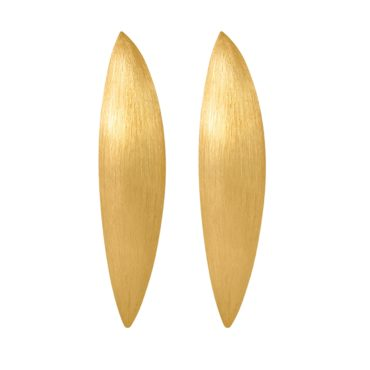 Tomfoolery, Gold Plated Silver Chunky Solid Long Oval Studs, Lindenau