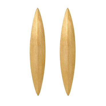Tomfoolery, Gold Plated Silver Solid Long Oval Studs, Lindenau