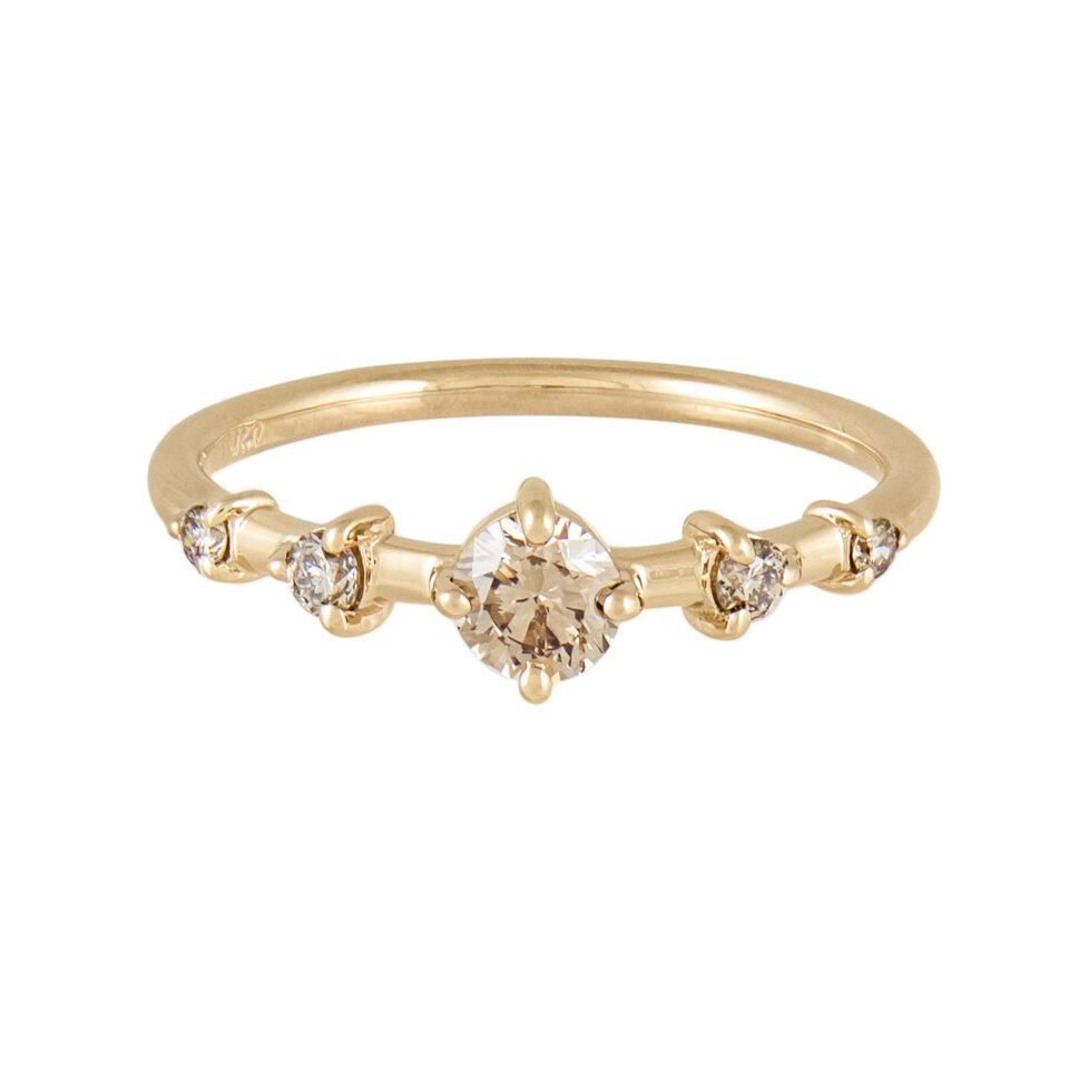 Limited Edition Champagne Diamond Small Horizon Ring, wwake, tomfoolery