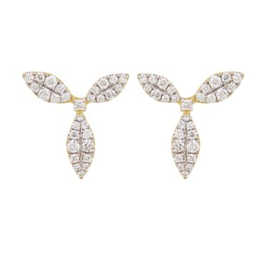 18ct Yellow Gold & Diamond Honeysuckle Stud Earrings, tf Diamonds, Tomfoolery