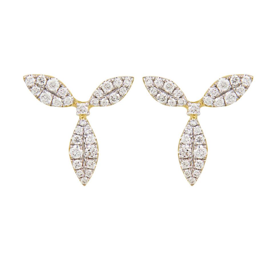 18ct Yellow Gold & Diamond Honeysuckle Stud Earrings, tf Diamonds, Tomfoolery
