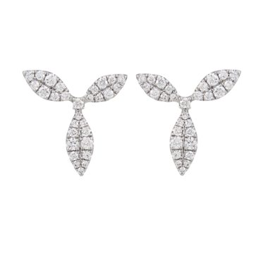 18ct White Gold & Diamond Honeysuckle Stud Earrings, tf Diamonds, Tomfoolery