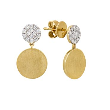 18ct Yellow Gold & Diamond Circle Short Drop Stud Earrings,  tf Diamonds, Tomfoolery