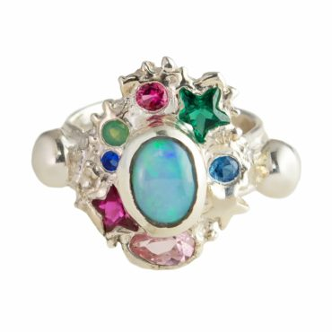 Millie Savage, Multicoloured Galaxy Opal Silver Ring, tomfoolery
