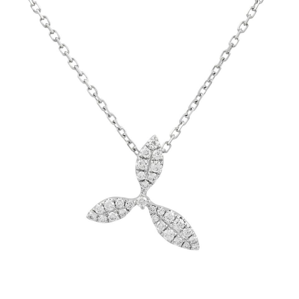 18ct White Gold & Diamond Honeysuckle Pendant Necklace,  tf Diamonds, Tomfoolery