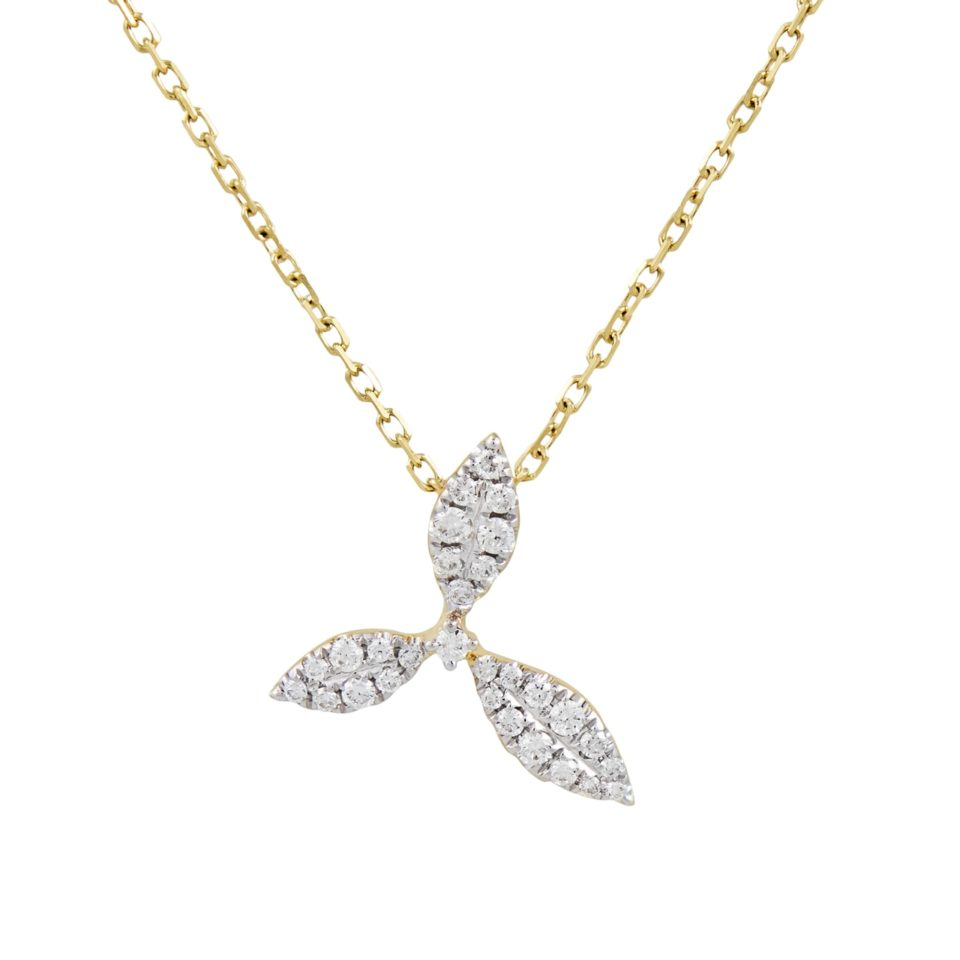 18ct Yellow Gold & Diamond Honeysuckle Pendant Necklace,  tf Diamonds, Tomfoolery