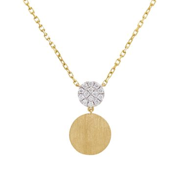 18ct Yellow Gold & Diamond Circle Drop Pendant Necklace,  tf Diamonds, Tomfoolery