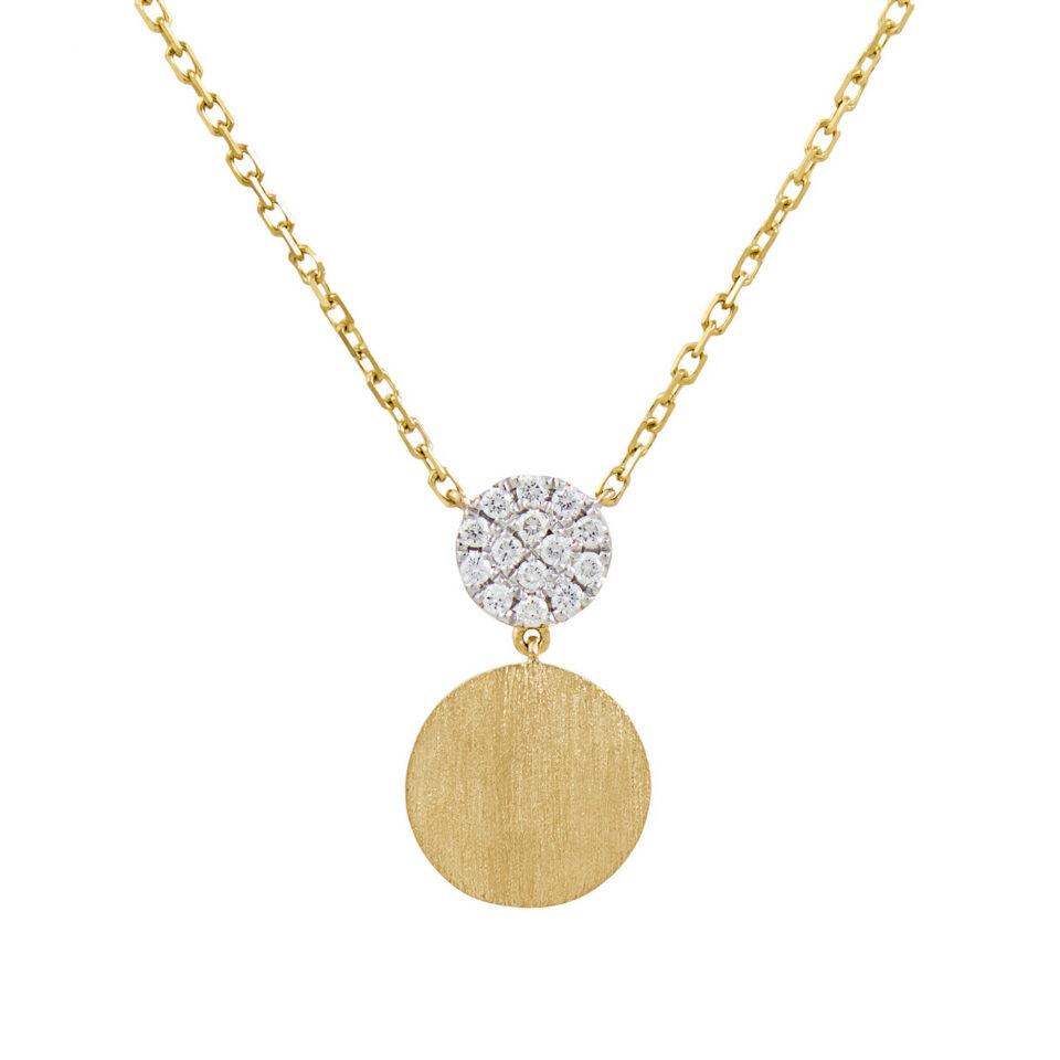 18ct Yellow Gold & Diamond Circle Drop Pendant Necklace,  tf Diamonds, Tomfoolery