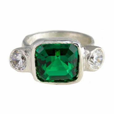 Millie Savage, Lab Grown Emerald & Diamond Silver Ring, tomfoolery