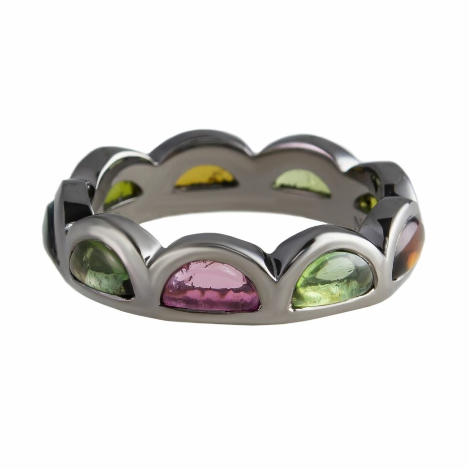 Multicoloured Tourmaline Scallop Band Ring, Nak Armstrong, tomfoolery