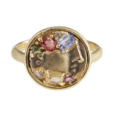 tomfoolery, atelier narce, Mixed Cut Sapphire Face 10ct Ring