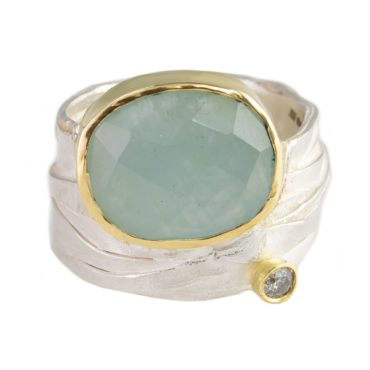 tomfoolery, shimara carlow, One of Kind 'Aqua & Diamond Wrap' Art Ring