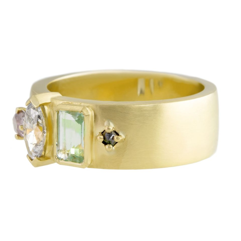 Muse by tomfoolery, 18ct Yellow Gold Mixed Four Set Wide Ring, Tomfoolery