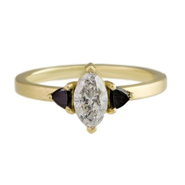 Muse by tomfoolery, 18ct Yellow Gold Marquise And Trillion Trio Ring, tomfoolery