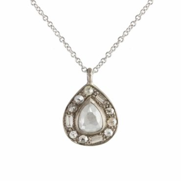 Muse by tomfoolery, 18ct White Gold Puzzle Pear Cut Grey Diamond Pendant, Tomfoolery