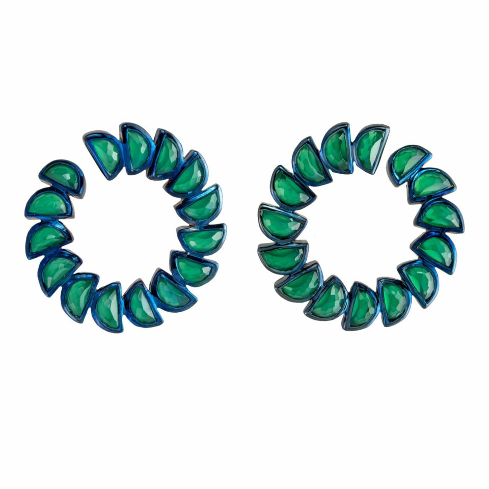 tomfoolery, Nak Armstrong,Green Onyx Marabou Bypass Hoops