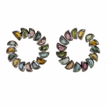 tomfoolery, Nak Armstrong, Multi-Coloured Tourmaline Marabou Bypass Hoops,