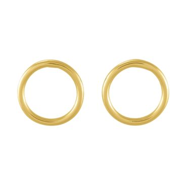 tomfoolery: gold polished Round Wire small Circle Studs, Everyday by tomfoolery